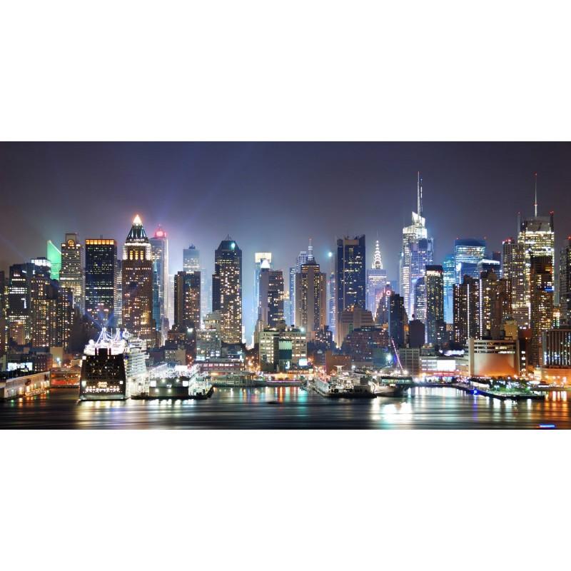 QUADRO SU TELA CON SWAROVSKI ORIGINALI - NEW YORK MANHATTAN