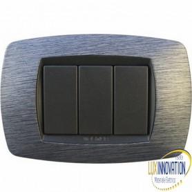 Placca Master Modo in tecnopolimero Satinato blu 3 posti