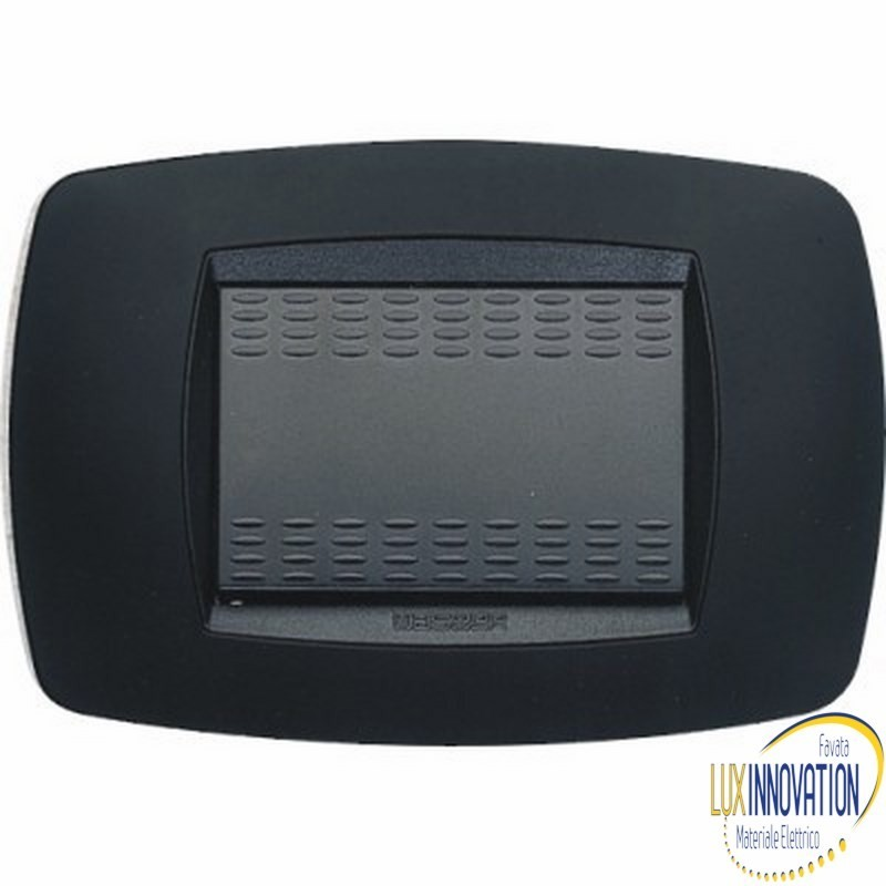Placca Master Modo in tecnopolimero Nero soft 3 posti