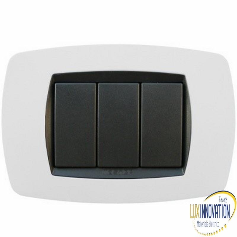Placca Master Modo in tecnopolimero Bianco ghiaccio soft 3 posti