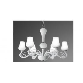 Lampadario sospensione in vetro D.66 art.5783 illuminazione moderna e contemporanea per salone sala da pranzo camera da letto