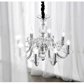 Lampadario sospensione vetro trasparente con candele D.85 art.6498TR moderno contemporano salone sala da pranzo camera da letto