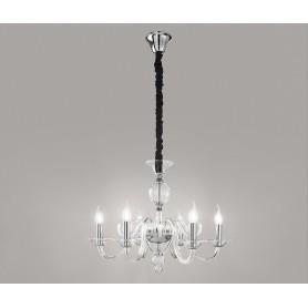 Lampadario sospensione vetro trasparente con candele D.68 art.6496TR moderno contemporano salone sala da pranzo camera da letto