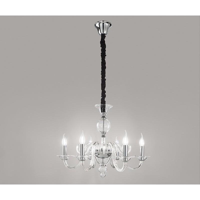 Lampadario sospensione vetro trasparente con candele D.68 art ...