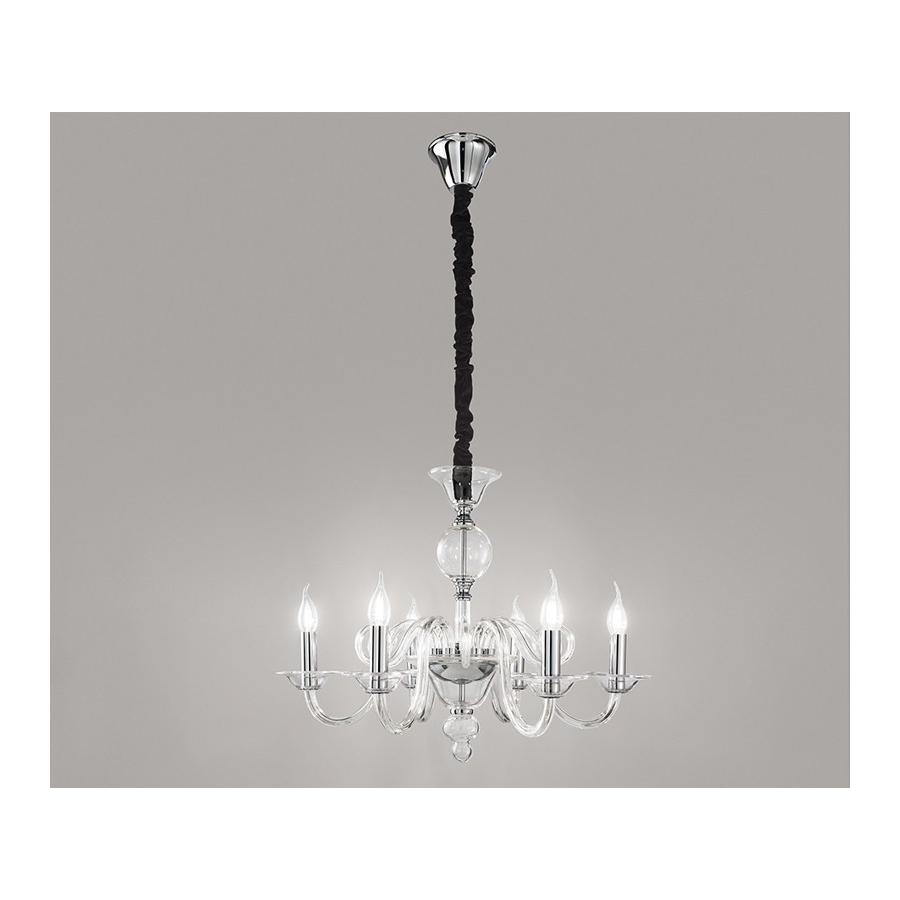 Lampadario sospensione vetro trasparente con candele D.68 art.6496TR ...