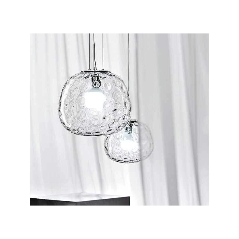 Lampadario coordinato 2 lampade a sospensione vetro trasparente illuminazione - Lampade per cucina moderna ...