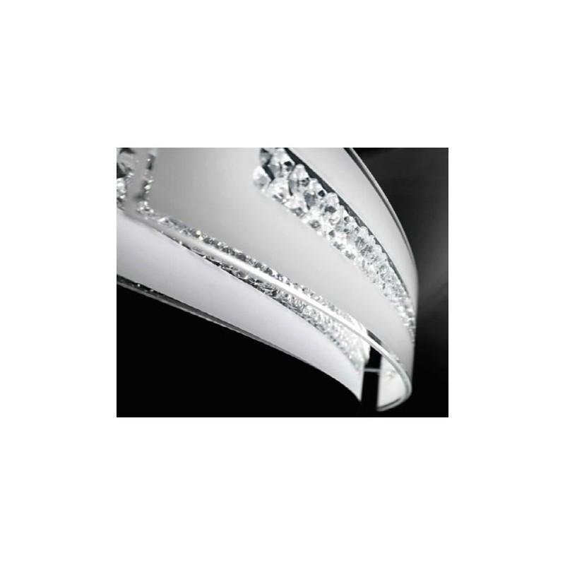Applique vetro con cristalli 31cm art.6078 illuminazione moderna contemporanea ideale per salone camera da letto