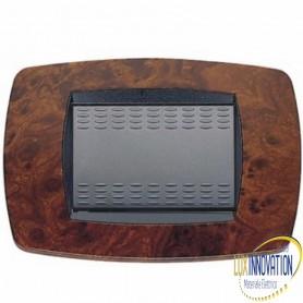 Placca Master 39TC433 Modo in tecnopolimero Radica di noce 3 posti