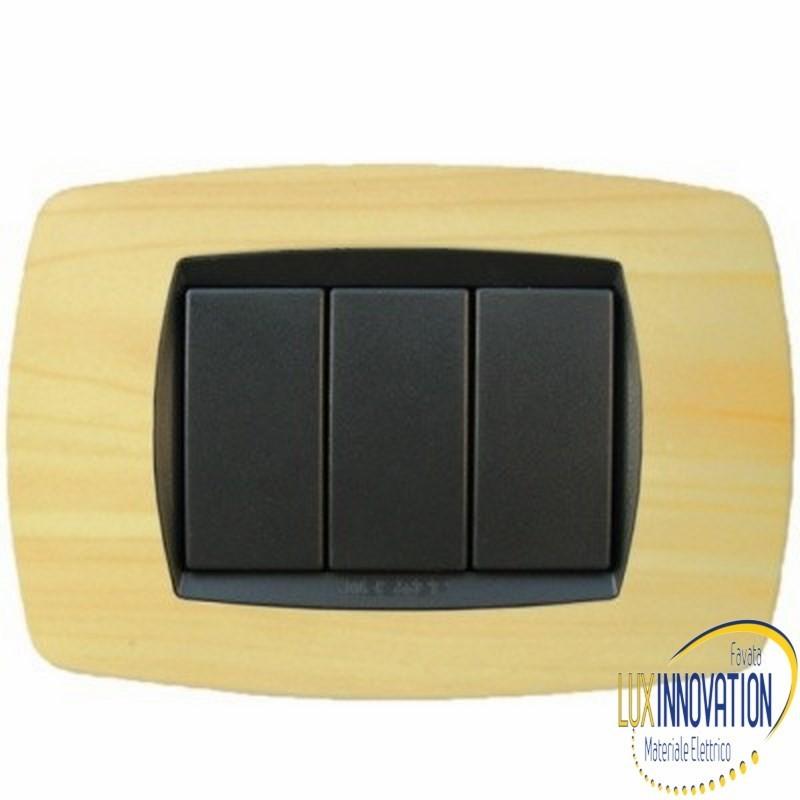 Placca Master Modo in tecnopolimero Frassino 3 posti