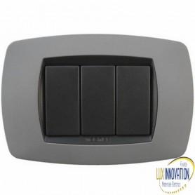 Placca Master Modo in tecnopolimero Grigio soft 3 posti