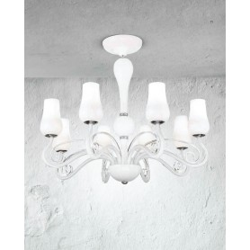 Lampadario in vetro diametro 74 art.5785 illuminazione moderna e contemporanea ideale per salone sala da pranzo camera da letto