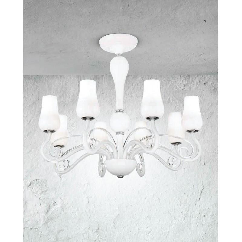 Lampadario in vetro diametro 74 illuminazione moderna e contemporanea ideale per salone - Lampadario sala da pranzo moderna ...