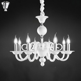 Lampadario Sospensione Vetro Bianco Con Candele D85 Art6498b