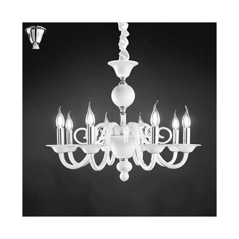 Lampadario sospensione vetro bianco con candele D.85 art.6498B ...