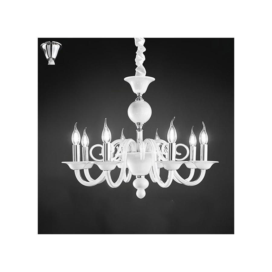 Lampadario sospensione vetro bianco con candele art for Lampadario camera da letto moderna