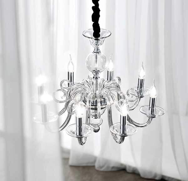 Lampadario sospensione vetro trasparente con candele D.85 art.6498TR ...