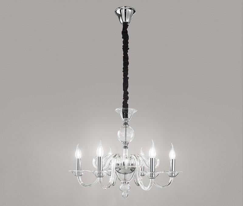 Lampadario sospensione vetro trasparente con candele D.68 art.6496TR  moderno contemporano salone sala da pranzo camera da letto - Luxinnovation  - ...