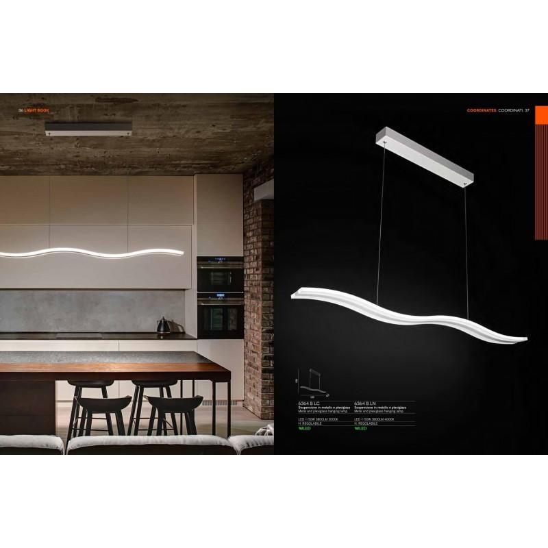 Lampadario lampada a sospensione in metallo e plexiglass 120cm 6364b lc illuminazione moderna for Lampadari da sala da pranzo
