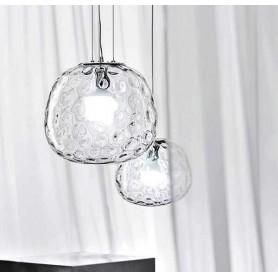 Lampadario coordinato 2 lampade a sospensione vetro trasparente art.646668TR Illuminazione moderna ideale per salone e cucina