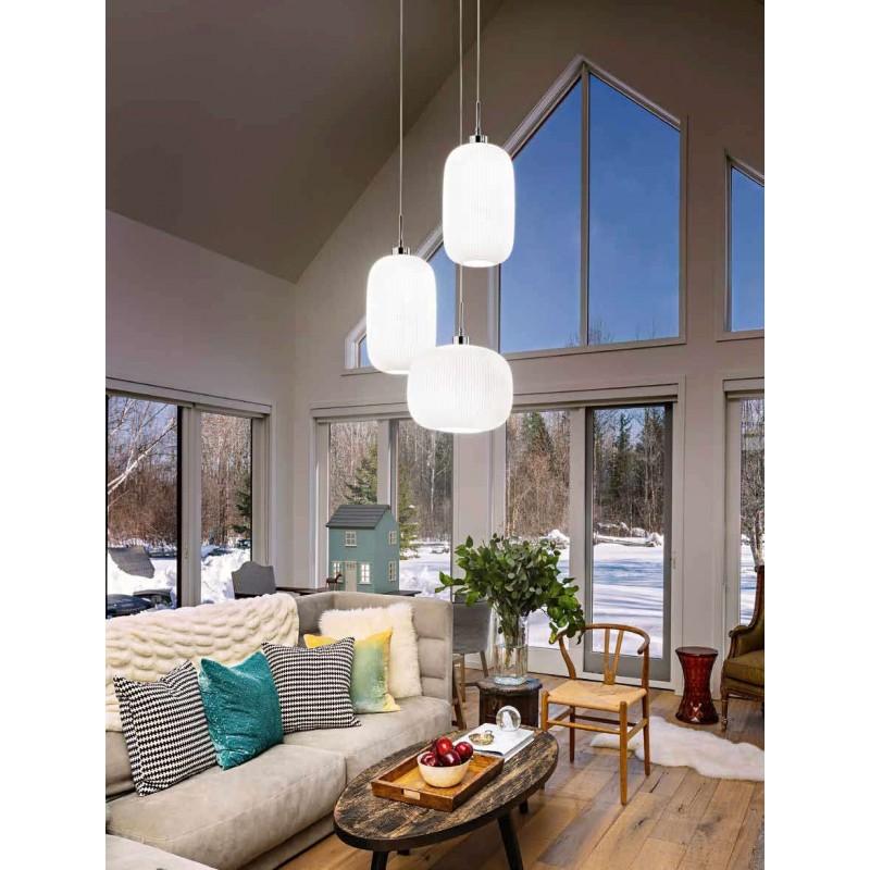 Lampadario coordinato 2 lampade a sospensione vetro bianco illuminazione moderna - Lampade per cucina moderna ...