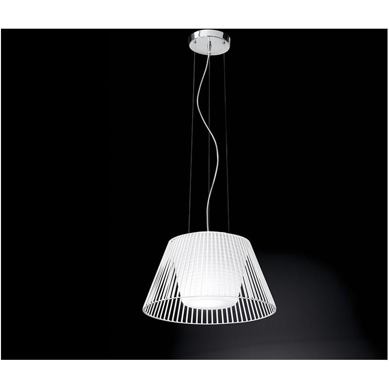 Lampadario con lampada a sospensione in metallo bianco con vetro D.48cm  6460B Illuminazione moderna ideale per salone e cucina - Luxinnovation - ...