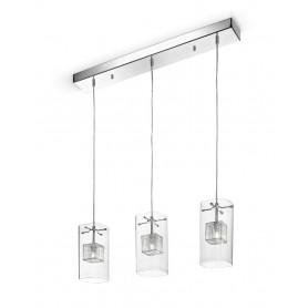 Lampadario con 3 lampade a sospensione cromo con vetro trasparente 76cm 5930 illuminazione - Lampade per cucina moderna ...