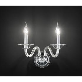 Applique candele vetro trasparente 30cm art.6494TR illuminazione moderna contemporanea ideale per salone camera da letto