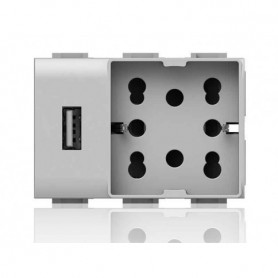 PRESA USB + skuko Per serie plana 5V carica cellulari 4 BOX 4b.v14.h21.usb