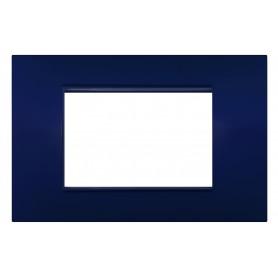 Placca 3 moduli blu compatibile Vimar Plana