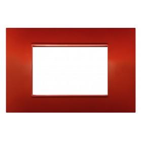 Placca 4 moduli rossa terra compatibile Vimar Plana