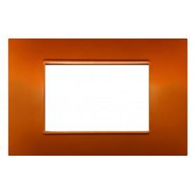 Placca 3 moduli arancio compatibile Vimar Plana