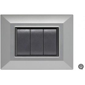 Placca 3m silver alluminio Vimar Eikon Compatibile metallo