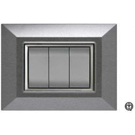 Placca 3m acciaio spazzolato Vimar Eikon Compatibile metallo