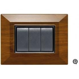 Placca 3m legno scuro Vimar Eikon Compatibile